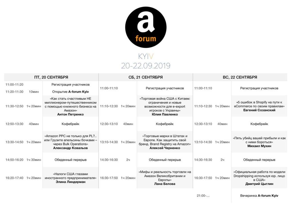 Расписание выступлений А-форум в Киеве